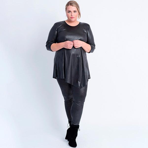 Magna Fashion Leather Look tunika musta - Tunikat  4b8358ac62