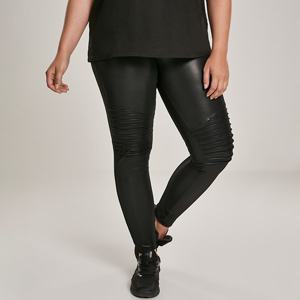 Urban Classics Faux Leather Biker leggingsit musta