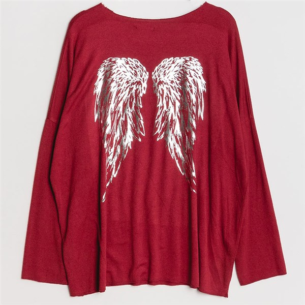 New Collection neule Wings tummanpunainen