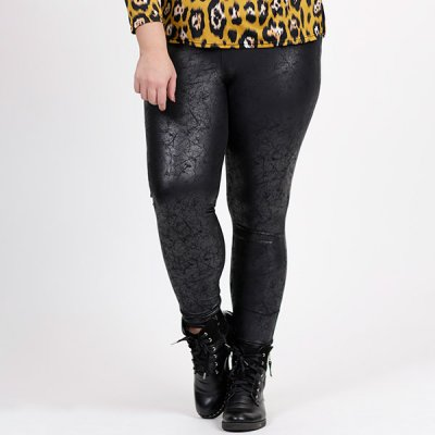 Magna Fashion Printed leatherlook leggingsit musta