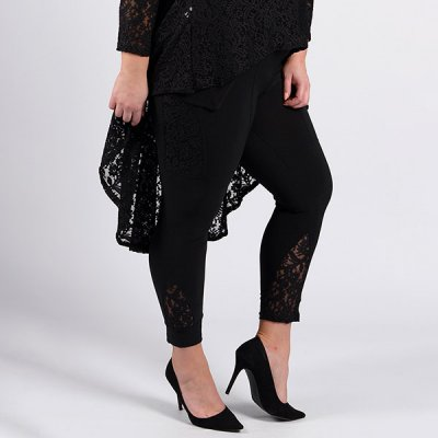 Magna Fashion Lace Details leggingsit musta