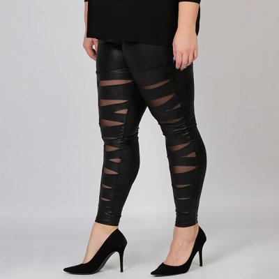 Magna Fashion Slash Cut Leatherlook leggingsit musta